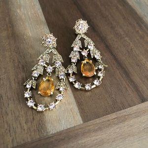 Monet chandelier gold tear drop crystal earrings